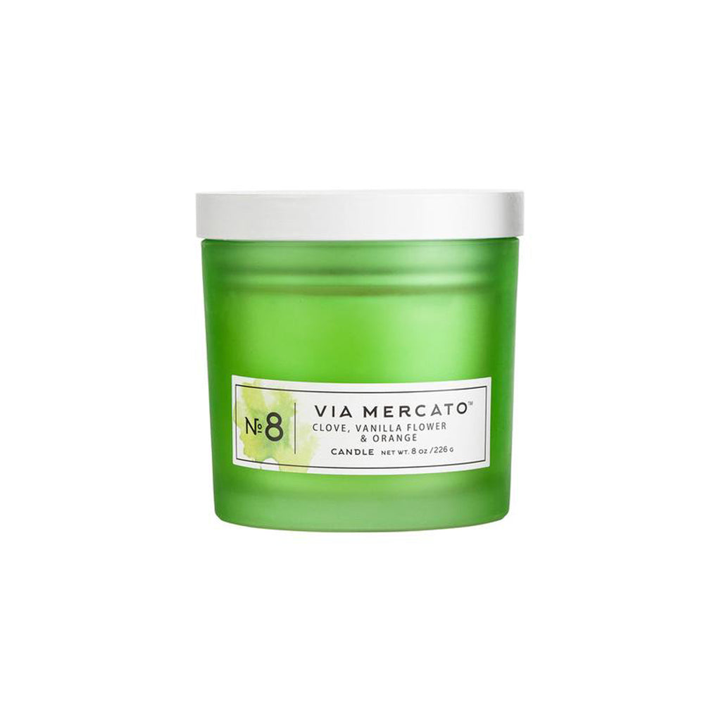 Via Mercato 8 oz Soy Candle - Clove, Vanilla Flower & Orange