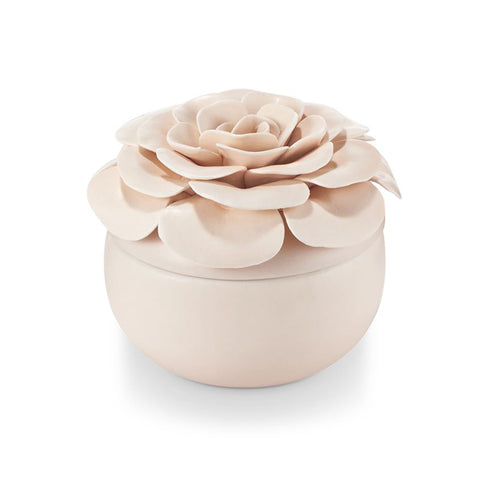 Coconut Milk Mango Ceramic Flower Candle