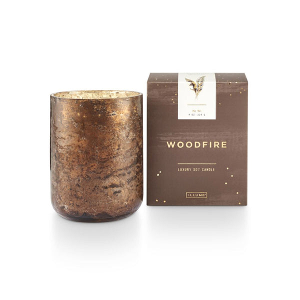 Woodfire Sanded Mercury Glass Candle