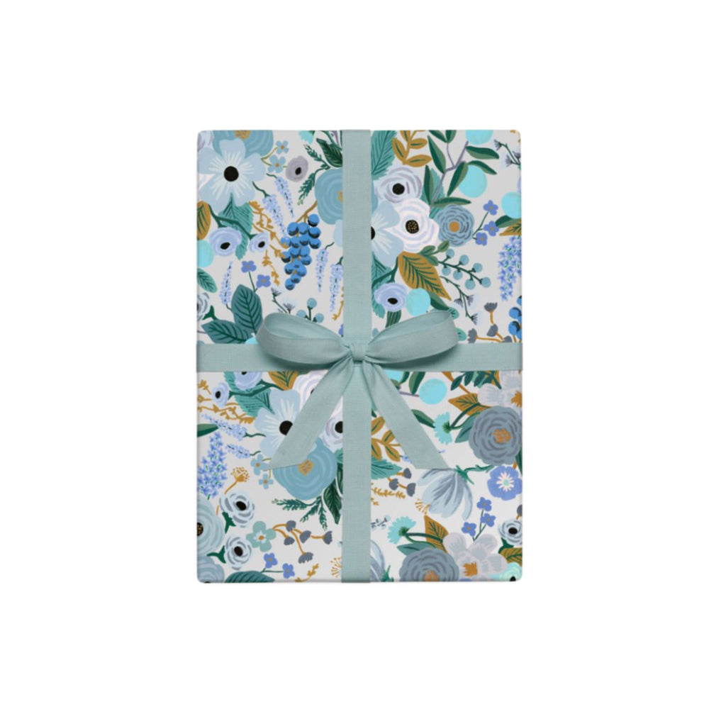 Garden Party Blue Wrapping Paper Roll