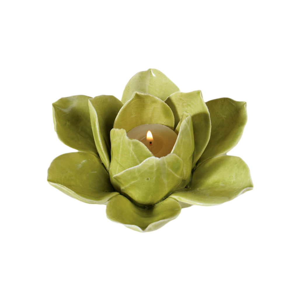 Lotus Tealight Holder - Green
