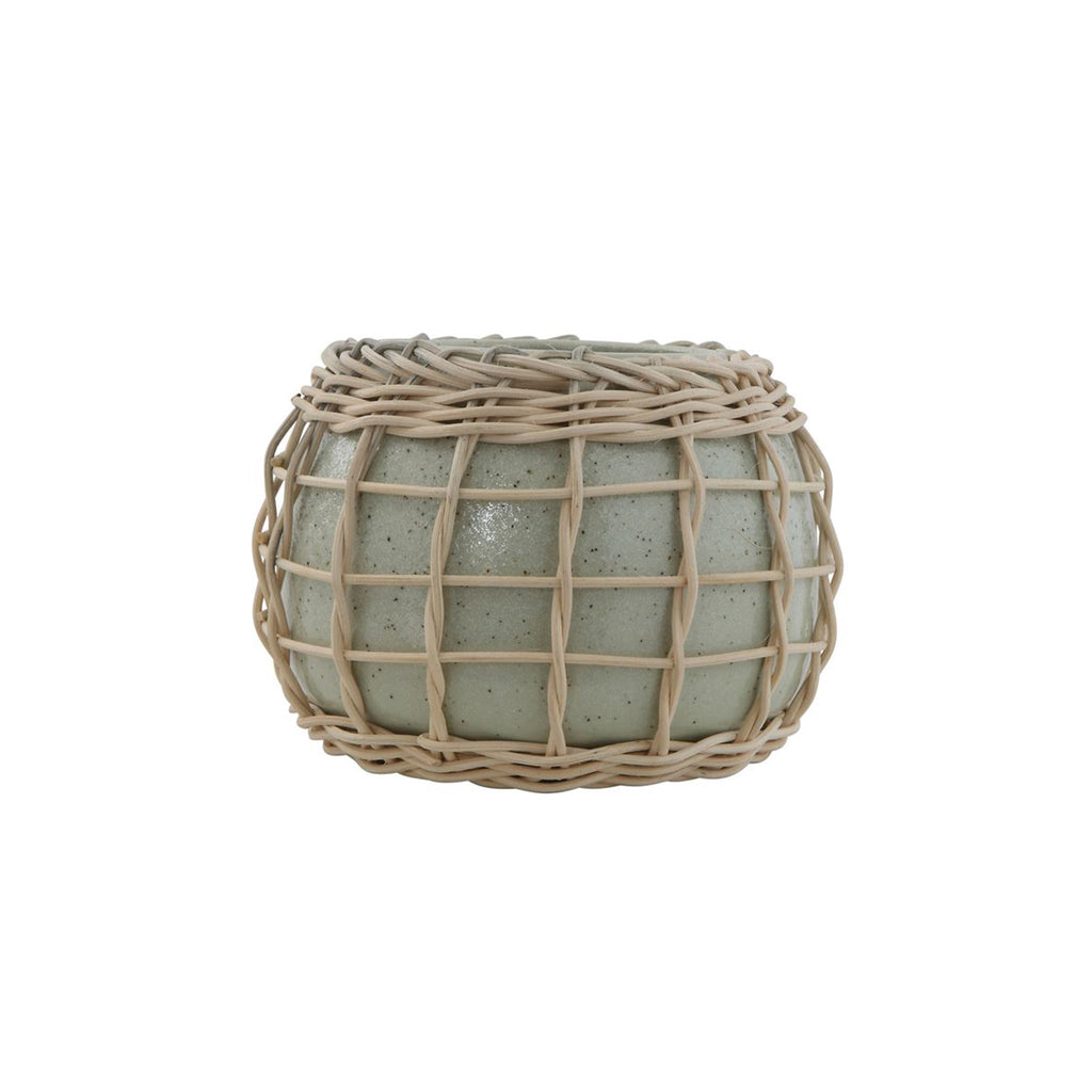 Stoneware Planter with Bamboo Weave