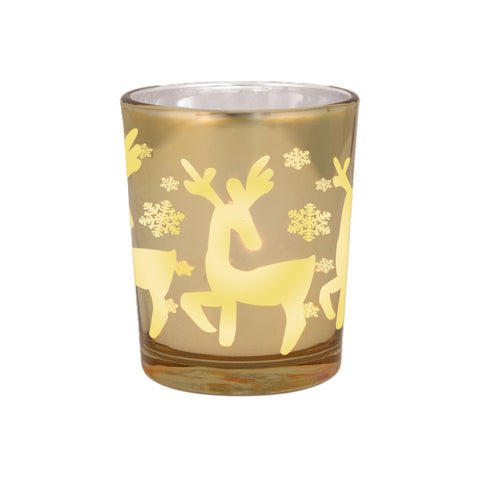 Golden Reindeer Votive Holder