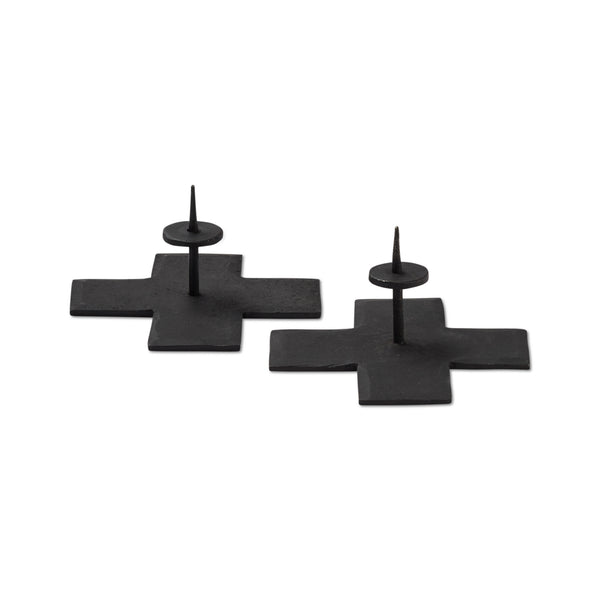 Icon Taper Candle Holder Black  Set of 2