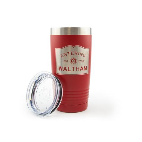 Insulated 20 oz Tumbler - Entering Waltham - lid off