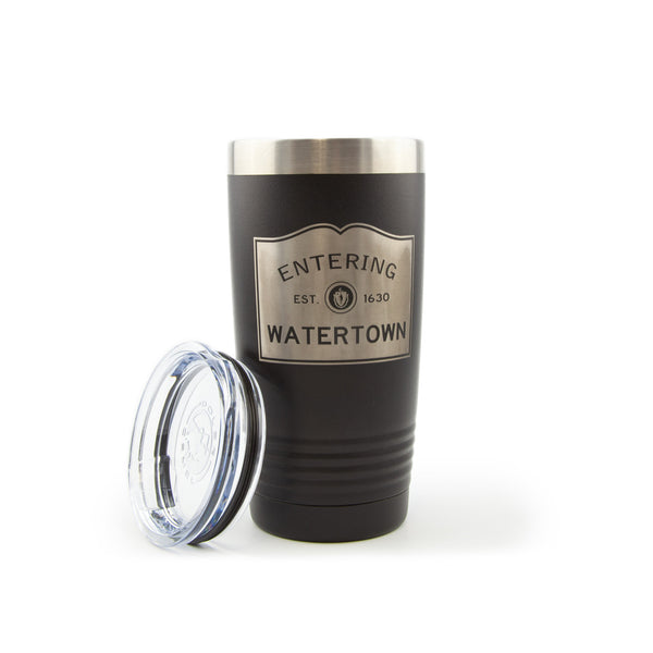 Insulated 20 oz Tumbler - Entering Watertown - lid off