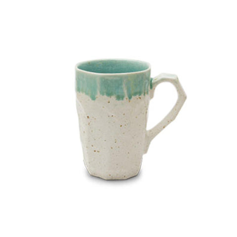 Boulder Mug Tall - White with Turquoise