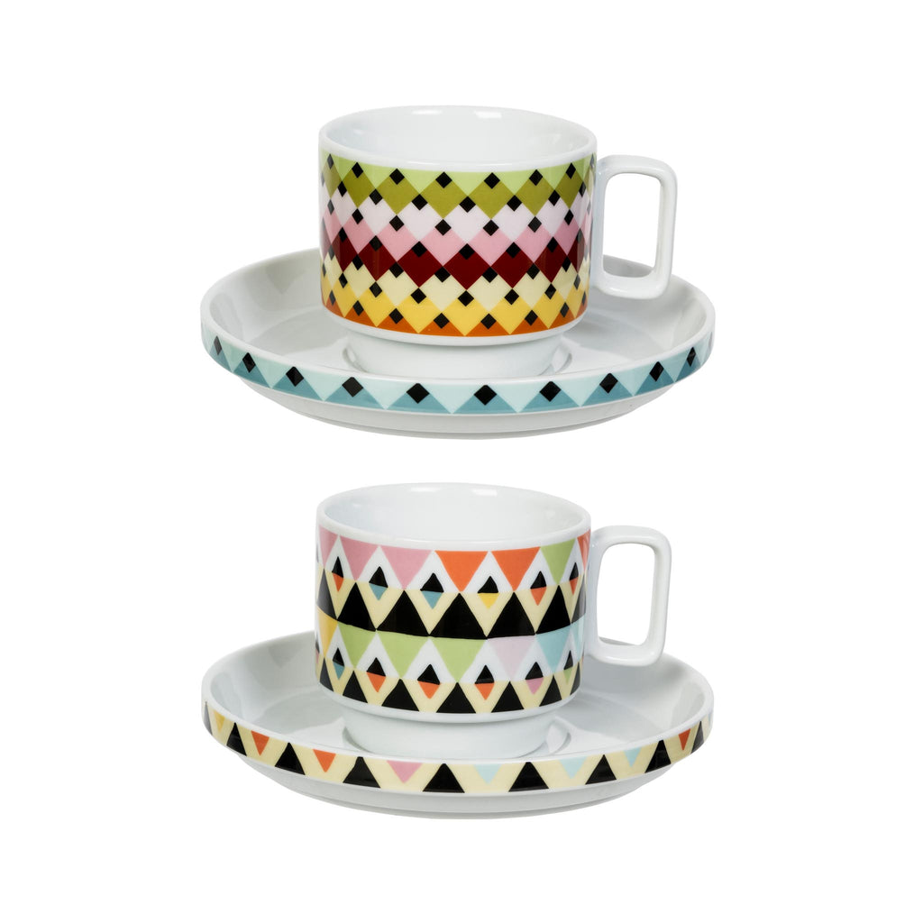 Viva Cup & Saucer Set of 2 - Overlap & Diamond Stripes
