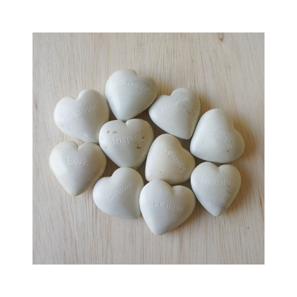Hand-carved Stone Hearts with Words - Natural