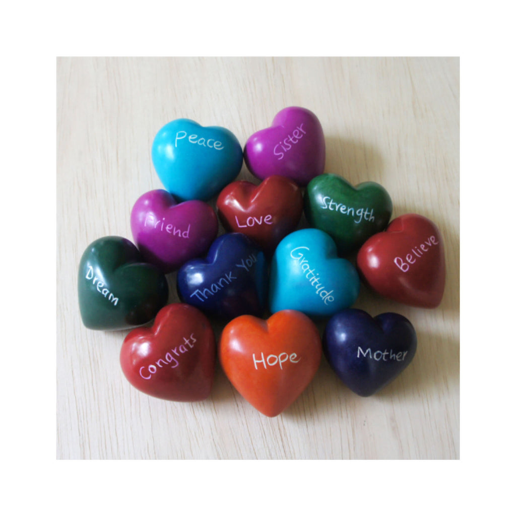 Hand-carved Stone Hearts with Words - Colors