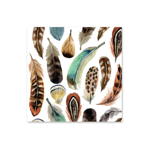 Aquarell Feather Beverage Napkins