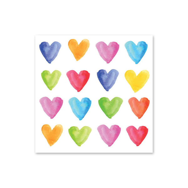 Aquarell Hearts Beverage Napkins