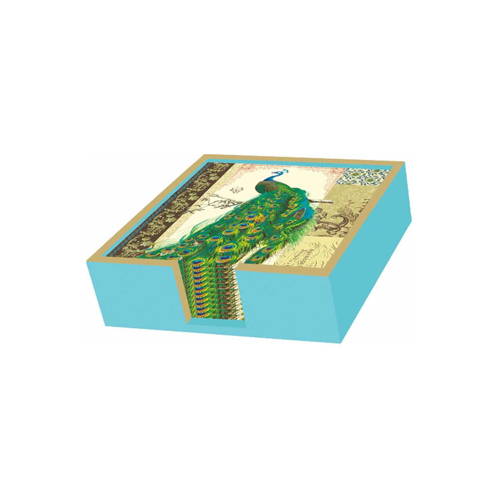 Wooden Beverage Napkin Holder - Aqua / Gold
