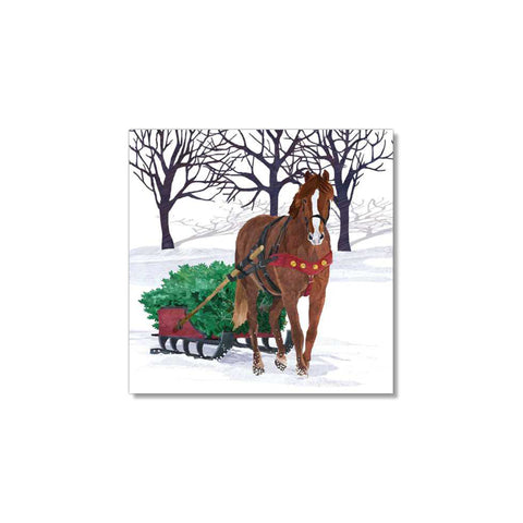 Winter Horse Sleigh Beverage Napkins
