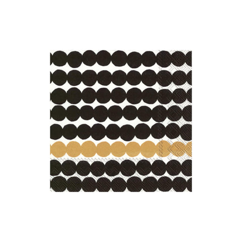 Marimekko Rasymatto Black & Gold Beverage Napkins