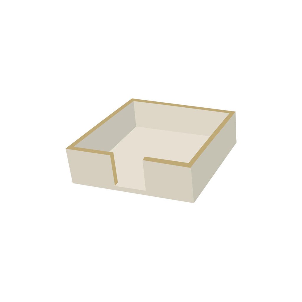 Wooden Beverage Napkin Holder - Taupe/Gold