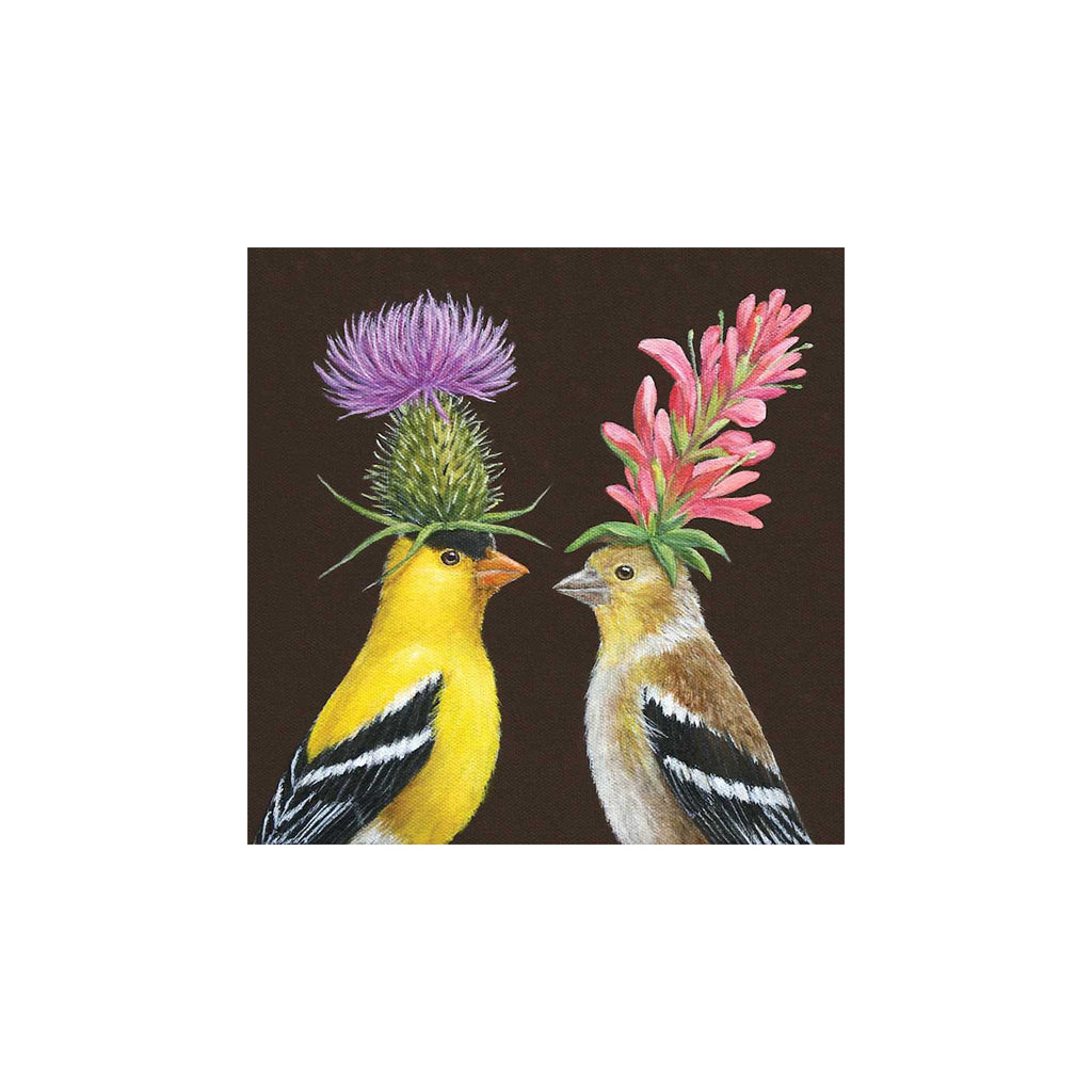 Goldfinch Couple Beverage Napkins