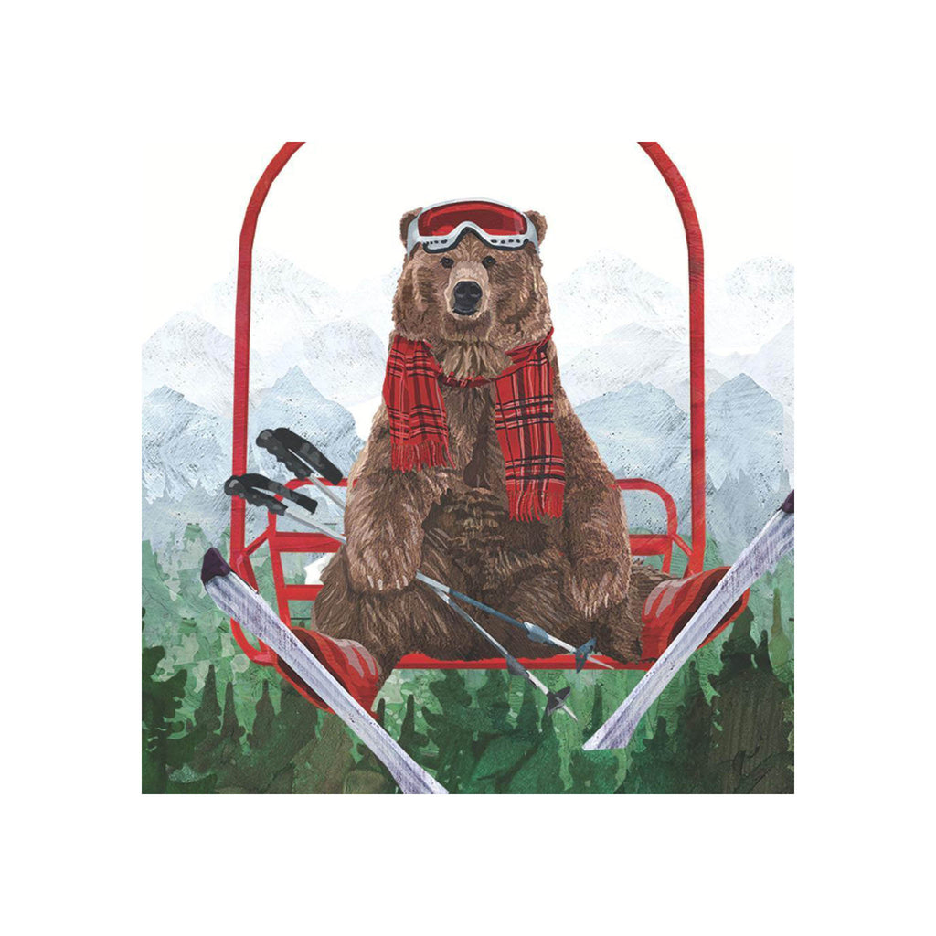 Ski Lift Bear Beverage Napkin