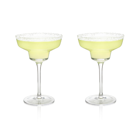 Crystal Margarita Glasses Set of 2 - in use