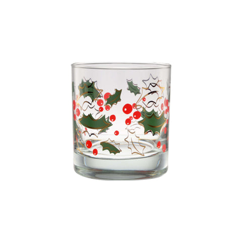 Holly Leaves 22K Double Old Fashioned Glass