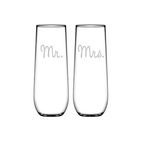 Mr. & Mrs. Stemless Flute Set