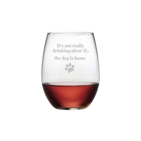 Drinking Alone Stemless Wine Glass