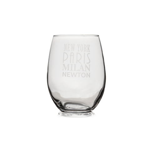 New York, Paris, Newton Stemless Wine Glass
