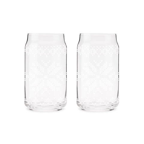 Nordic Print Pint Glass Set of 2