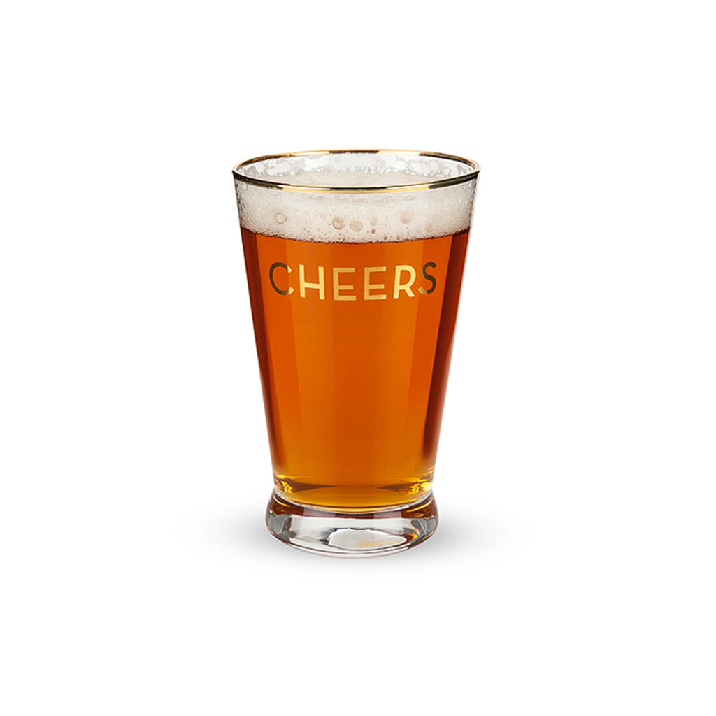 Gold Rimmed Cheers Pint Glass