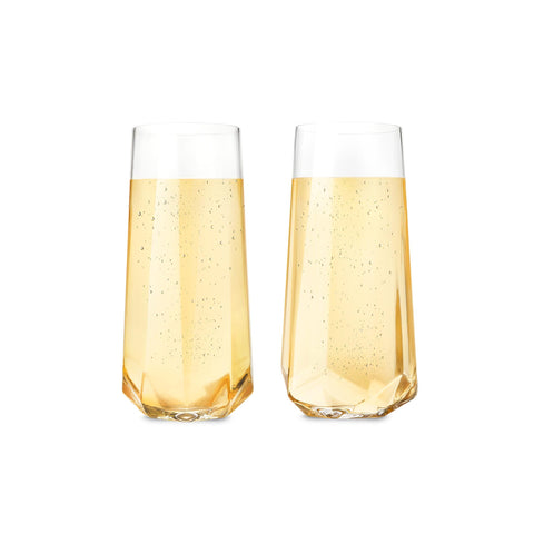 Faceted Crystal Champagne Glass Set of 2