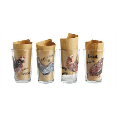 Hen Juice Glass Set of 4