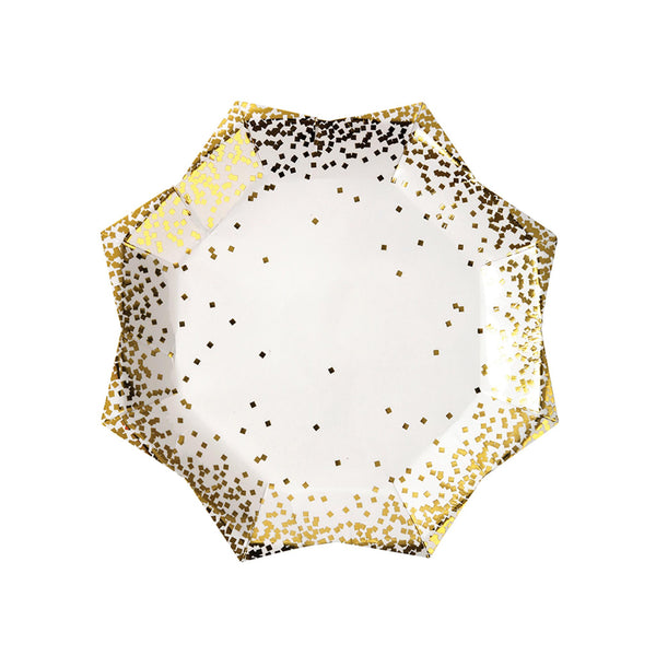 Gold Confetti Plates - Large