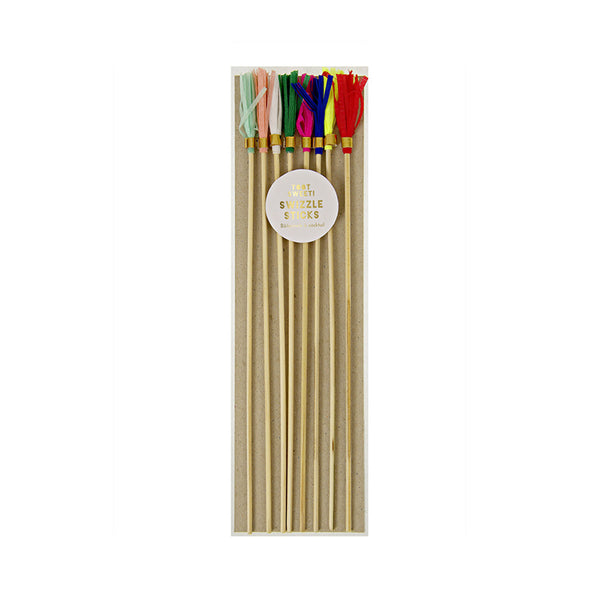 Crepe Paper Swizzle Sticks Set of 8