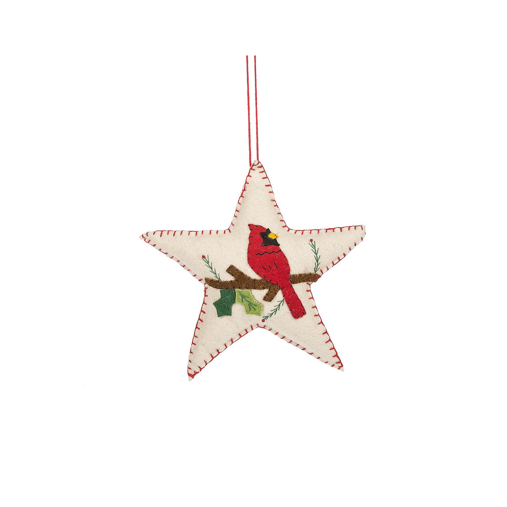 Cardinal Star Felt Ornament