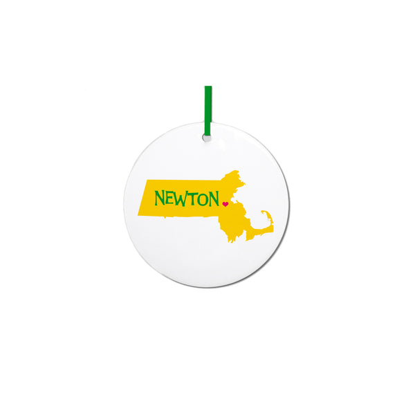 Newton Heart Massachusetts Ornament