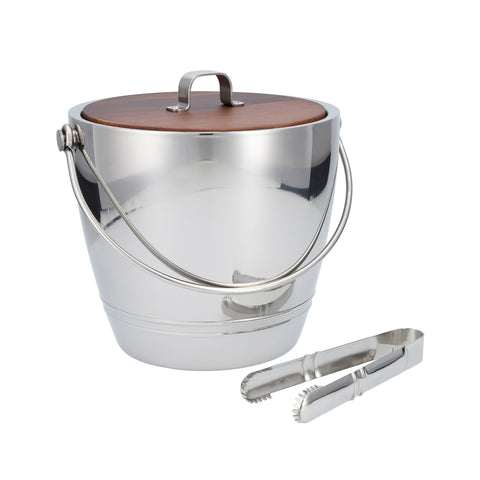 Crafthouse Round Ice Bucket with Tongs Set