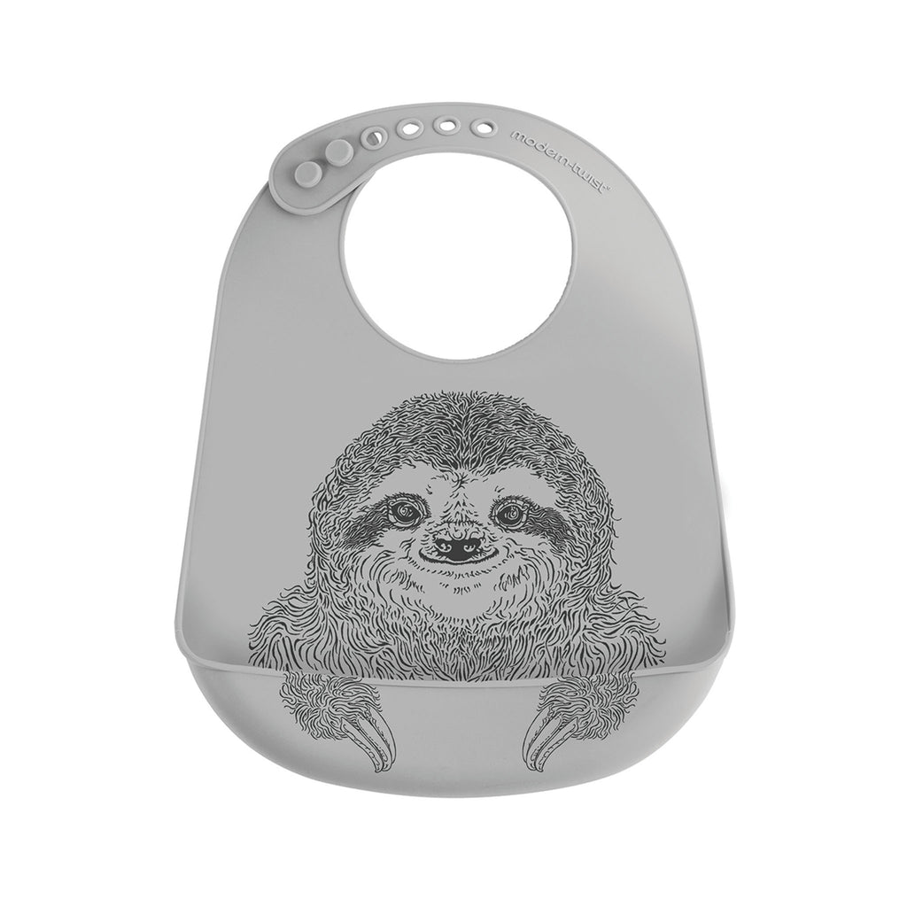 Modern Twist Bucket Bib - Grey Sloth