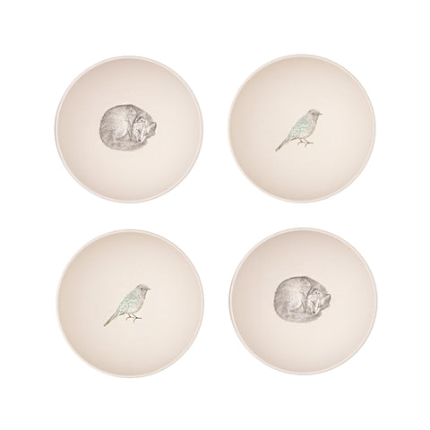 Bamboo 4PC Bowl Set - Fox & Bird