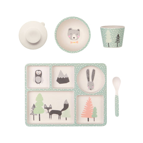 Bamboo Divided Plate Set - Fox & Friends