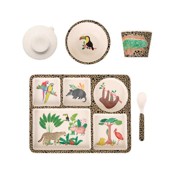 Bamboo Divided Plate Set - Amazon Jungle