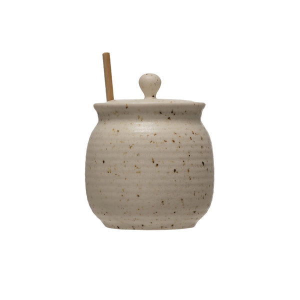 Stoneware Honey Jar with Wooden Dipper