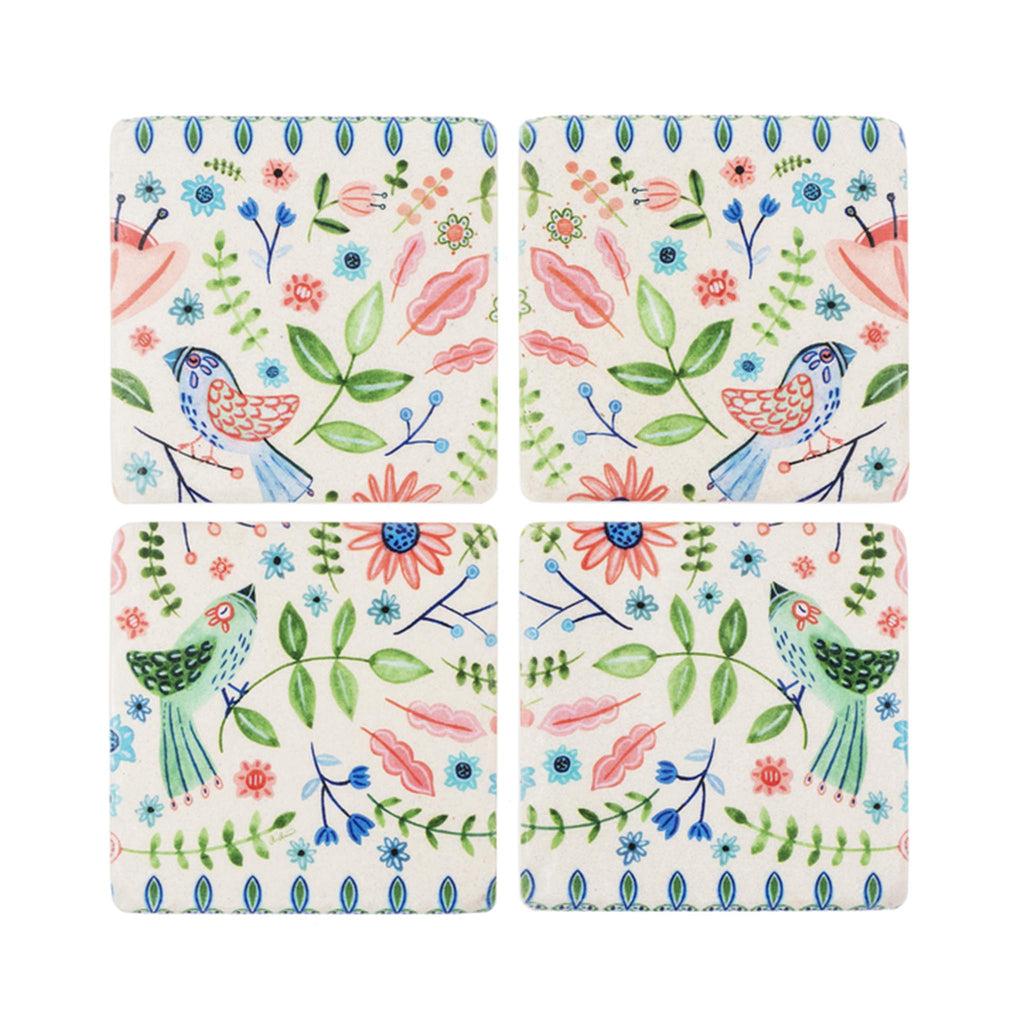Birds & Floral Coaster Set