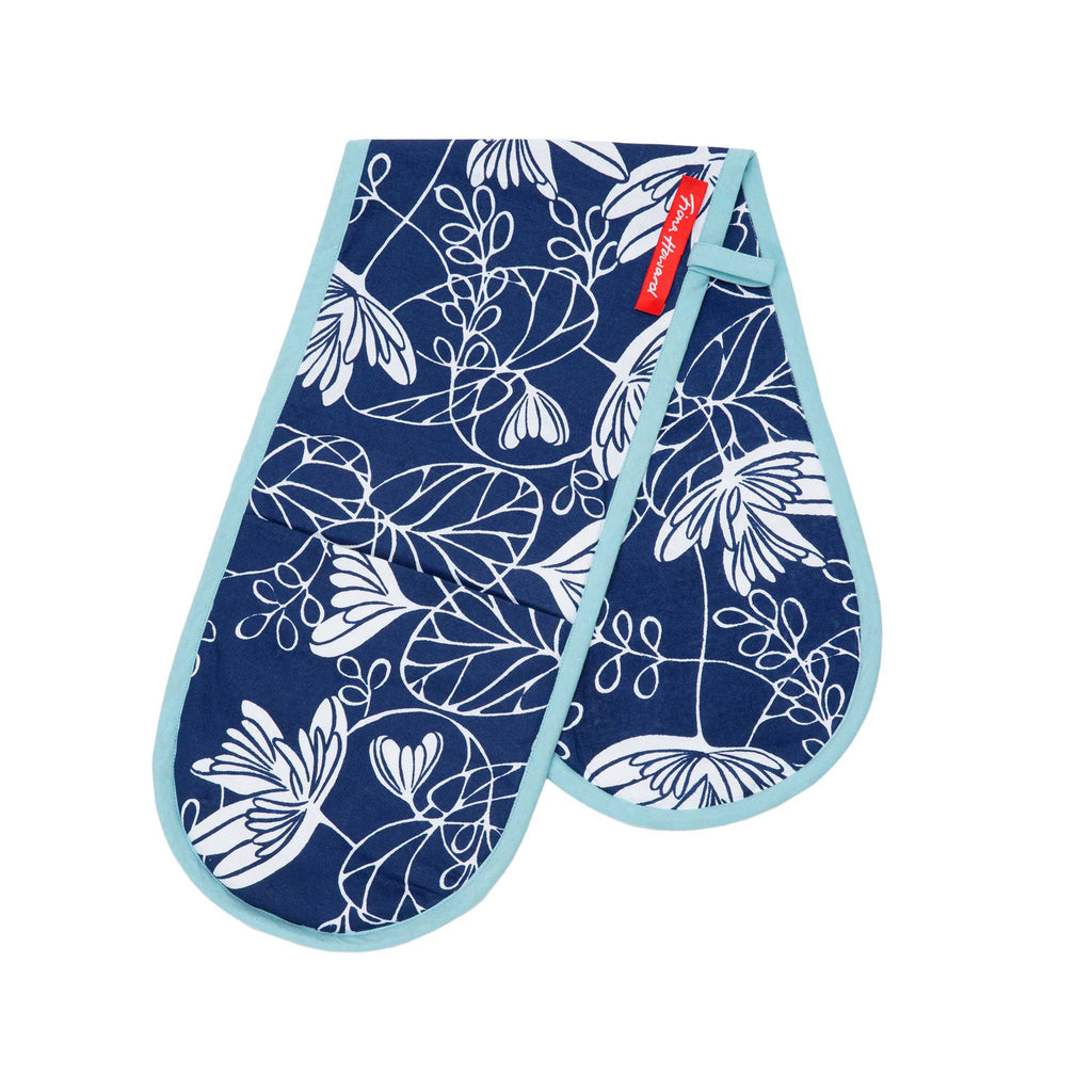 Fiona Howard Oven Gloves - Waterlily Indigo