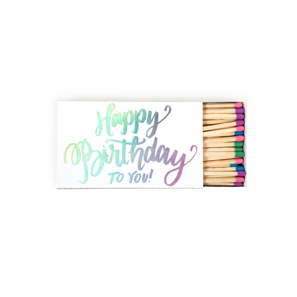 Large Foil Printed Matchboxes - Happy Birthday