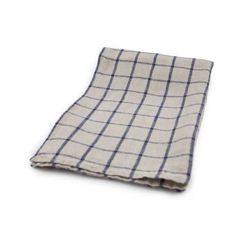 Windowpane Kitchen Towel - Natural / Indigo