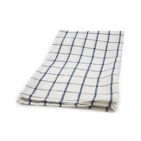 Windowpane Kitchen Towel - White / Indigo