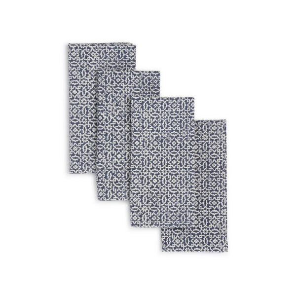 Hand Block Printed Napkins Set of 4 - Blue Valley