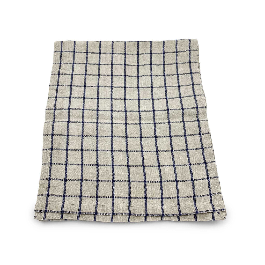 Windowpane Linen Table Runner - Natural / Indigo