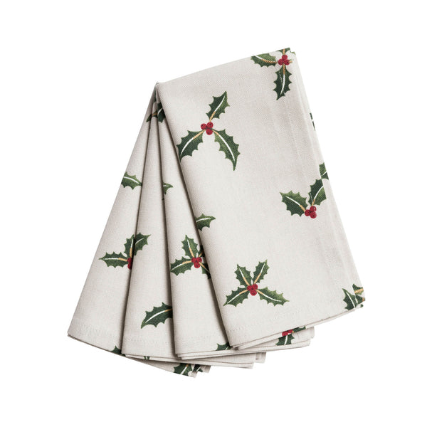 Christmas Holly & Berries Napkins Set of 4