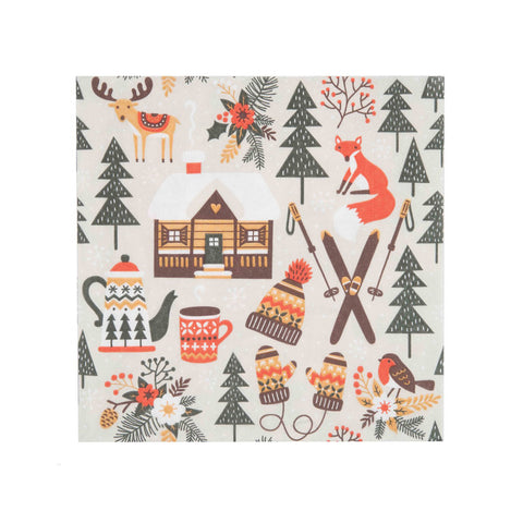 Finnish Beverage Napkins - Winter Cabin